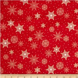 Jolly Old St. Nick Metallic Snowflakes Red