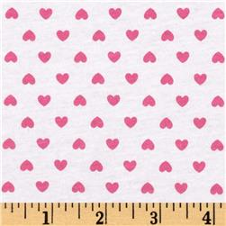 Stretch Cotton Jersey Knit Hearts White/Pink