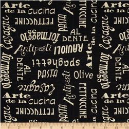 Al Dente Words Black Fabric
