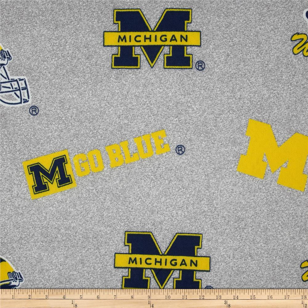 Collegiate Sweatshirt Fleece University of Michigan Heather Grey Fabric