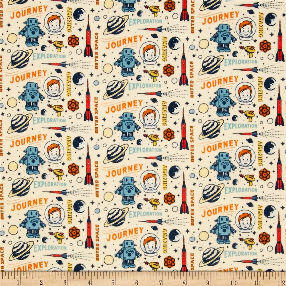 Riley blake rocket age flannel rocket captain cream for Rocket fabric