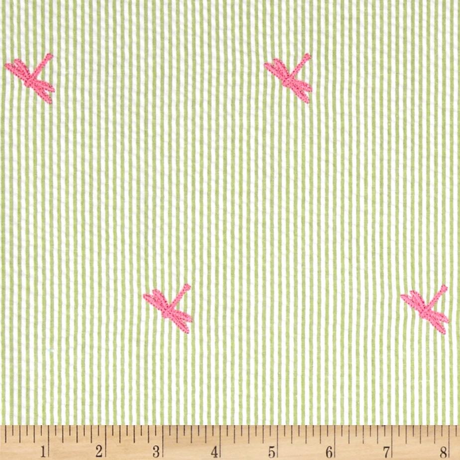 Embroidered Seersucker Lime/White Dragon Fly Pink