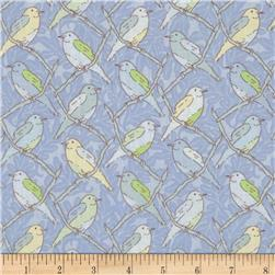 Victorian Modern Birds on a Branch Blue