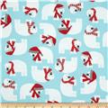 Robert Kaufman Jingle Flannel Polar Bears Glacier