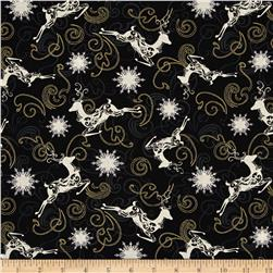 Winter Memories Metallic Reindeer Black
