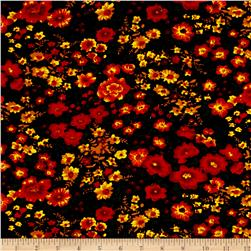 Corduroy Print Romantic Floral Red