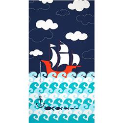 Michael Miller Ahoy Matey Panel Making Waves Single Border Navy