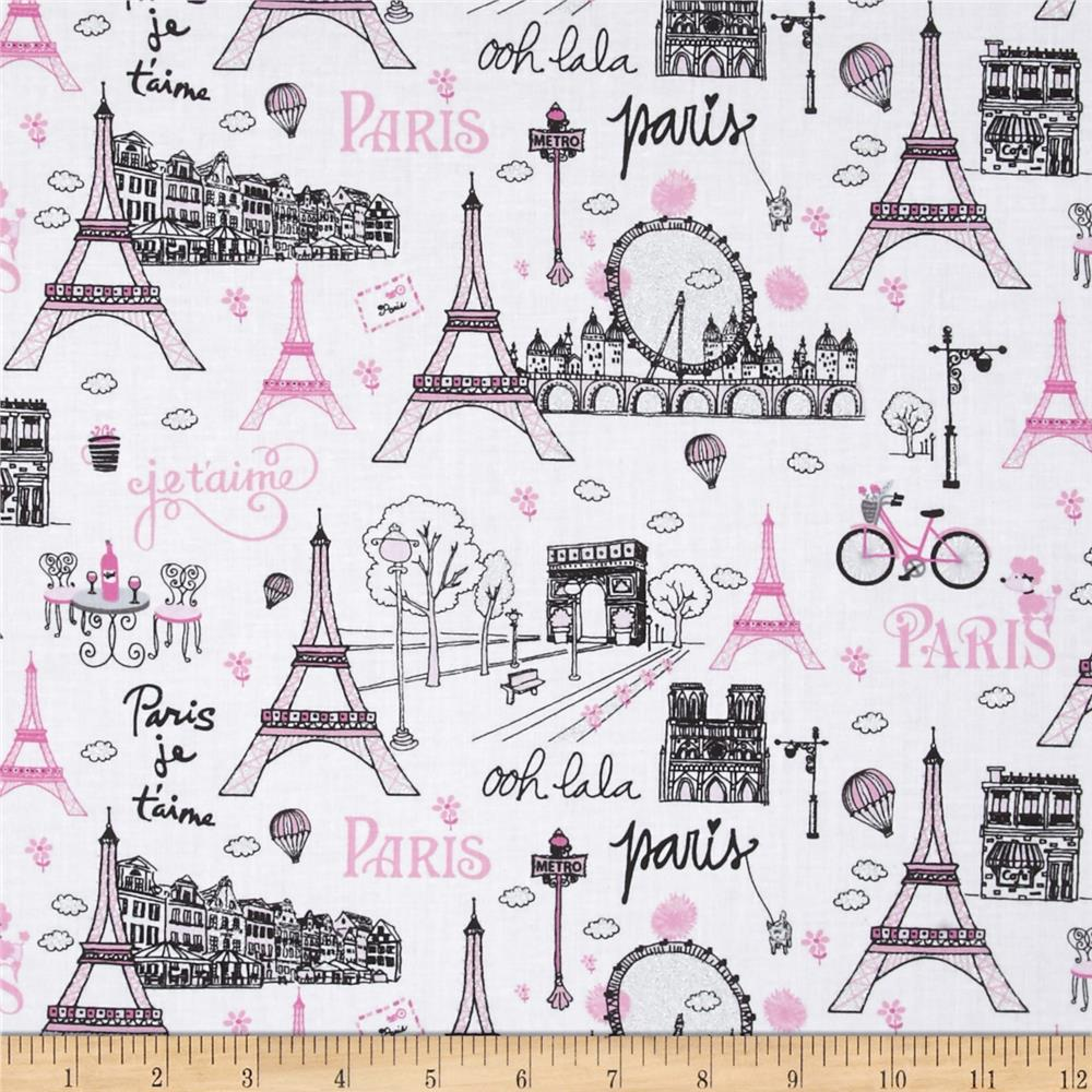 Timeless Treasures Fashionista Metallic Paris Scenic White