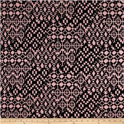 Jersey Knit Abstract Print Pink/Black