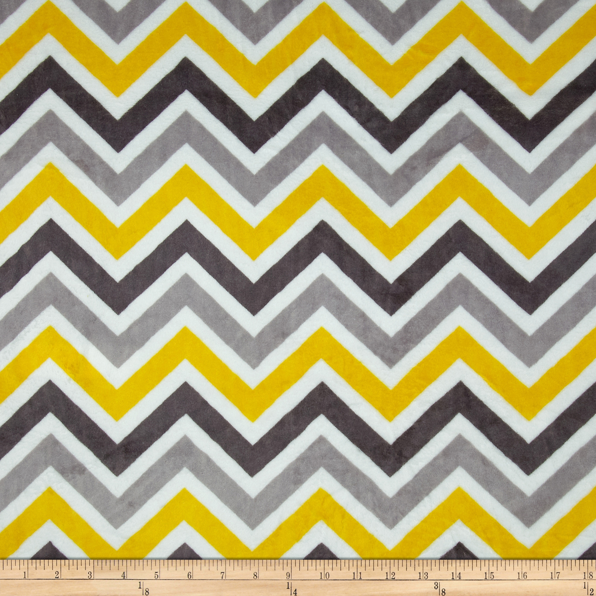 Minky Cuddle Zig Zag Lemon/Silver Fabric