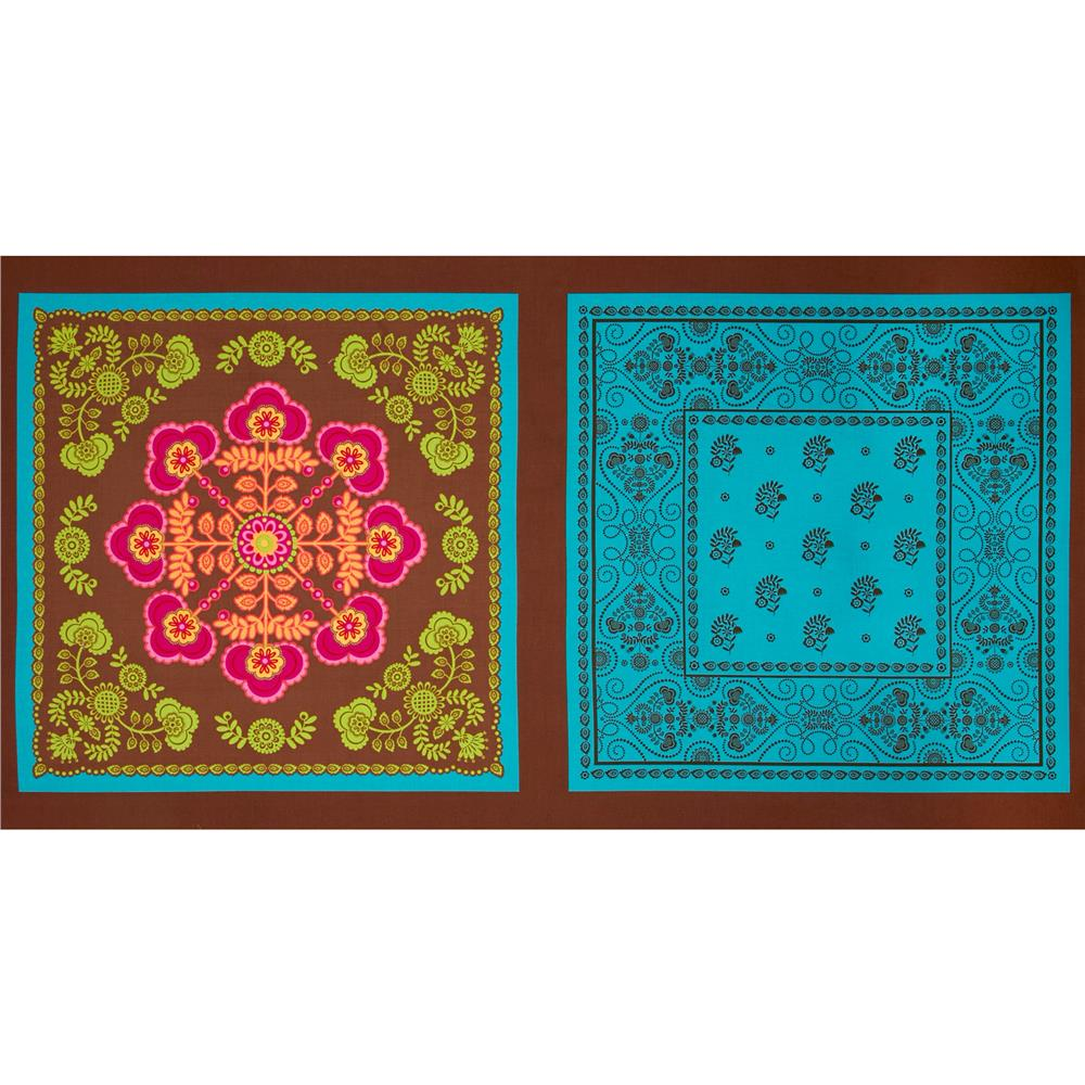 Michael Miller Ooh La La Le Bandana Panel Spice Brown