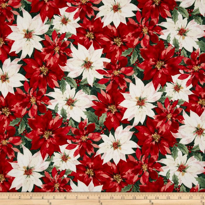 Festive Flora Metallic Packed Poinsettias Pine/Gold