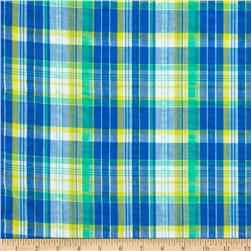 Kaufman Cape Cod Seersucker Plaid Blue Fabric