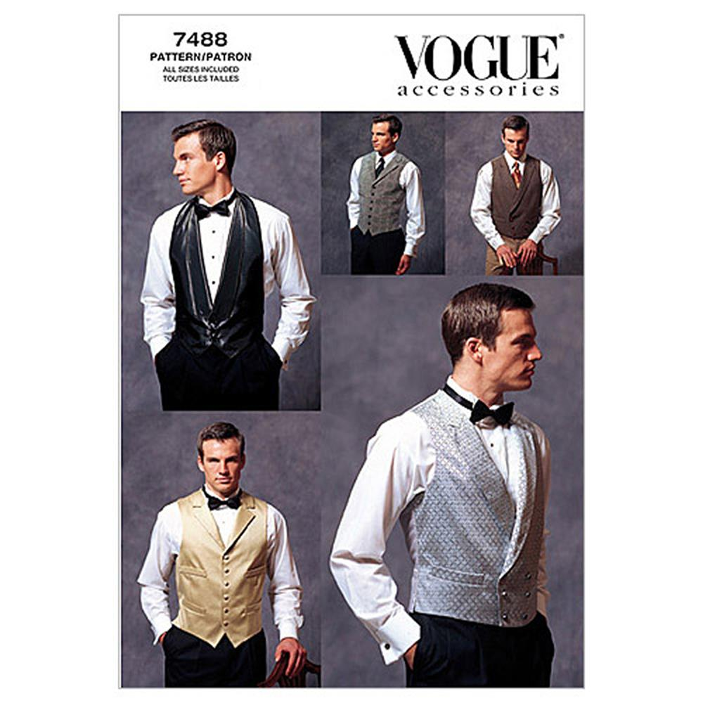 Vogue Men's Vests Pattern V7488 Size OSZ
