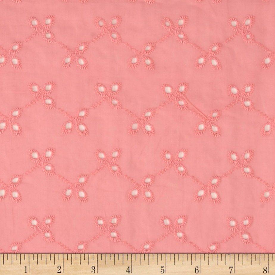 Image of Bud Floral Cotton Eyelet Pink Fabric