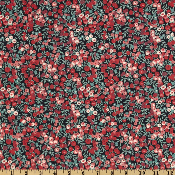 Liberty of London Tana Lawn Wiltshire Black/Teal/Rose Fabric