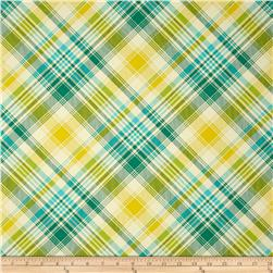 Joel Dewberry Home Decor Sateen Notting Hill Tartan Aquamarine