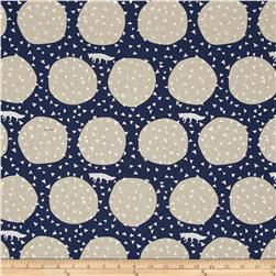 Kokka Echino Linen Blend Canvas Den Fox Navy/Metallic
