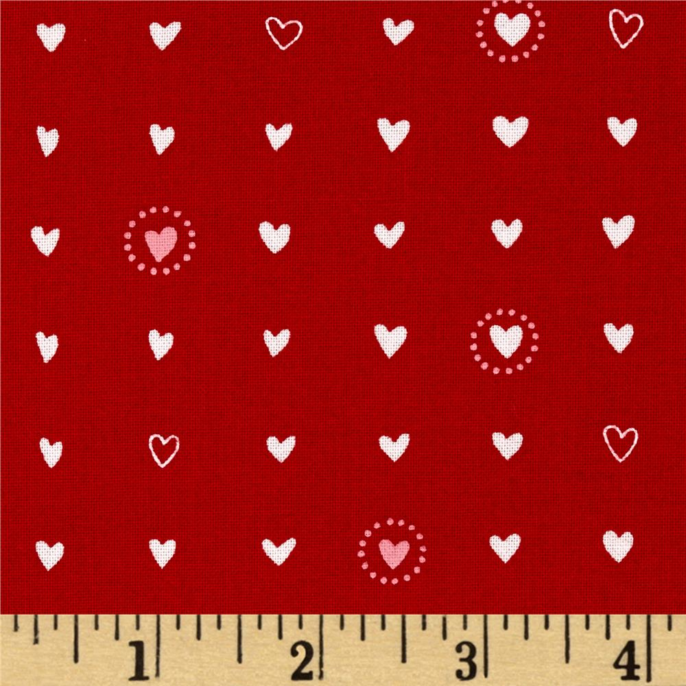 Moda Lil' Red Sweet Hearts Red