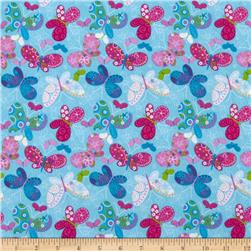 Catalina Flannel Butterflies Aqua