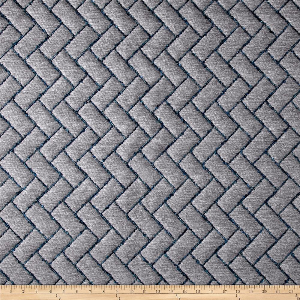 Brick Quilted Basketweave Gray Discount Designer Fabric