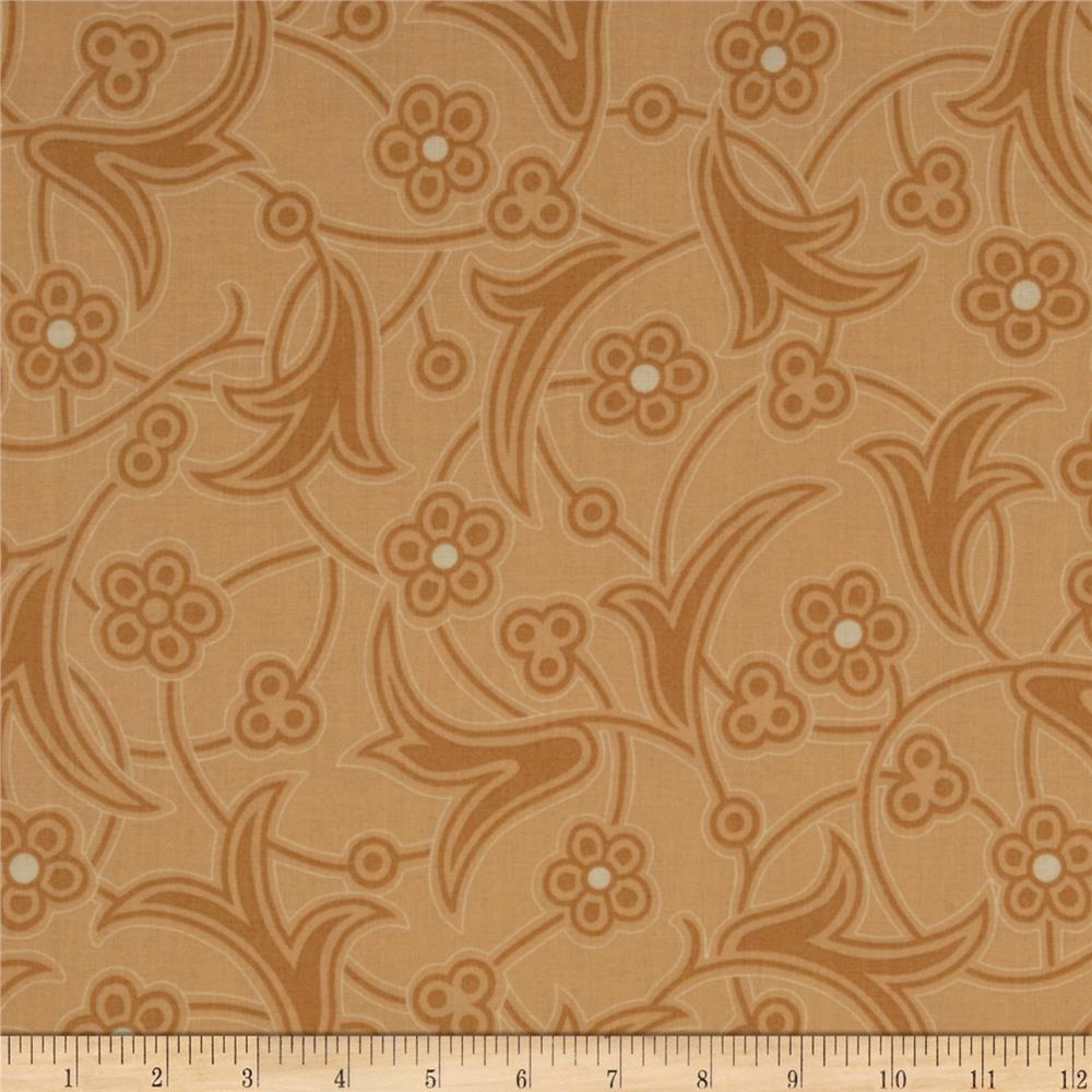 Downton Abbey Lady Edith Deco Floral Orange