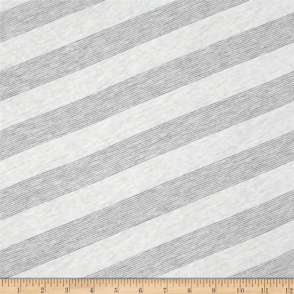 Lightweight Jersey Knit Diagonal Stripe Heather Grey/White Fabric By The Yard