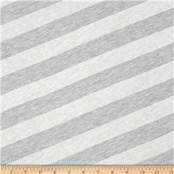 Lightweight Jersey Knit Diagonal Stripe Heather Grey/White
