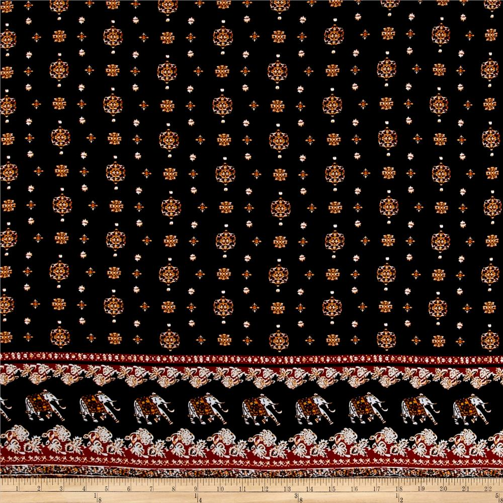 Rayon Challis Bohemian Elephants Black/Rust