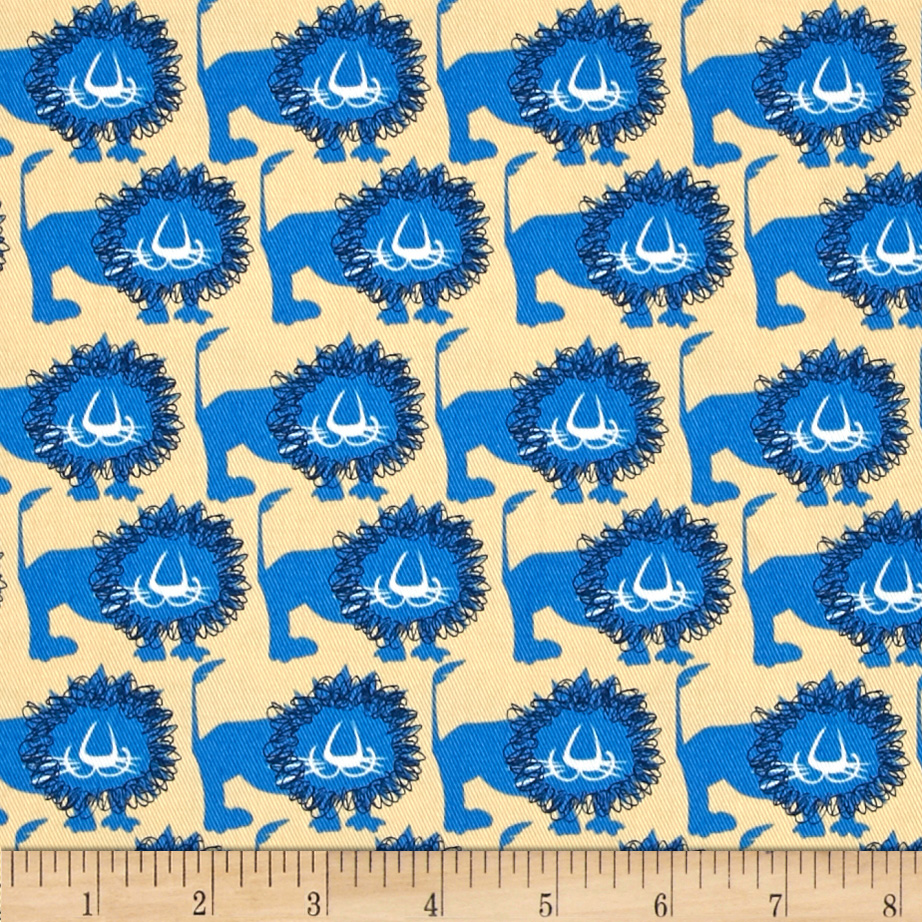 Image of Seven Islands Lions Twill Blue Fabric
