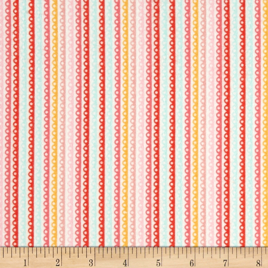Riley Blake Girl Crazy Flannel Stripe Pink Fabric