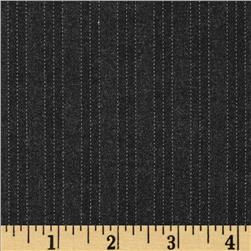Stretch Cotton-Poly Suiting Stripes Dark Charcoal Fabric