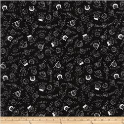 Timeless Treasures Madlibs Faces Black Fabric