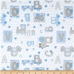 Comfy Flannel ABC Trains Cars White
