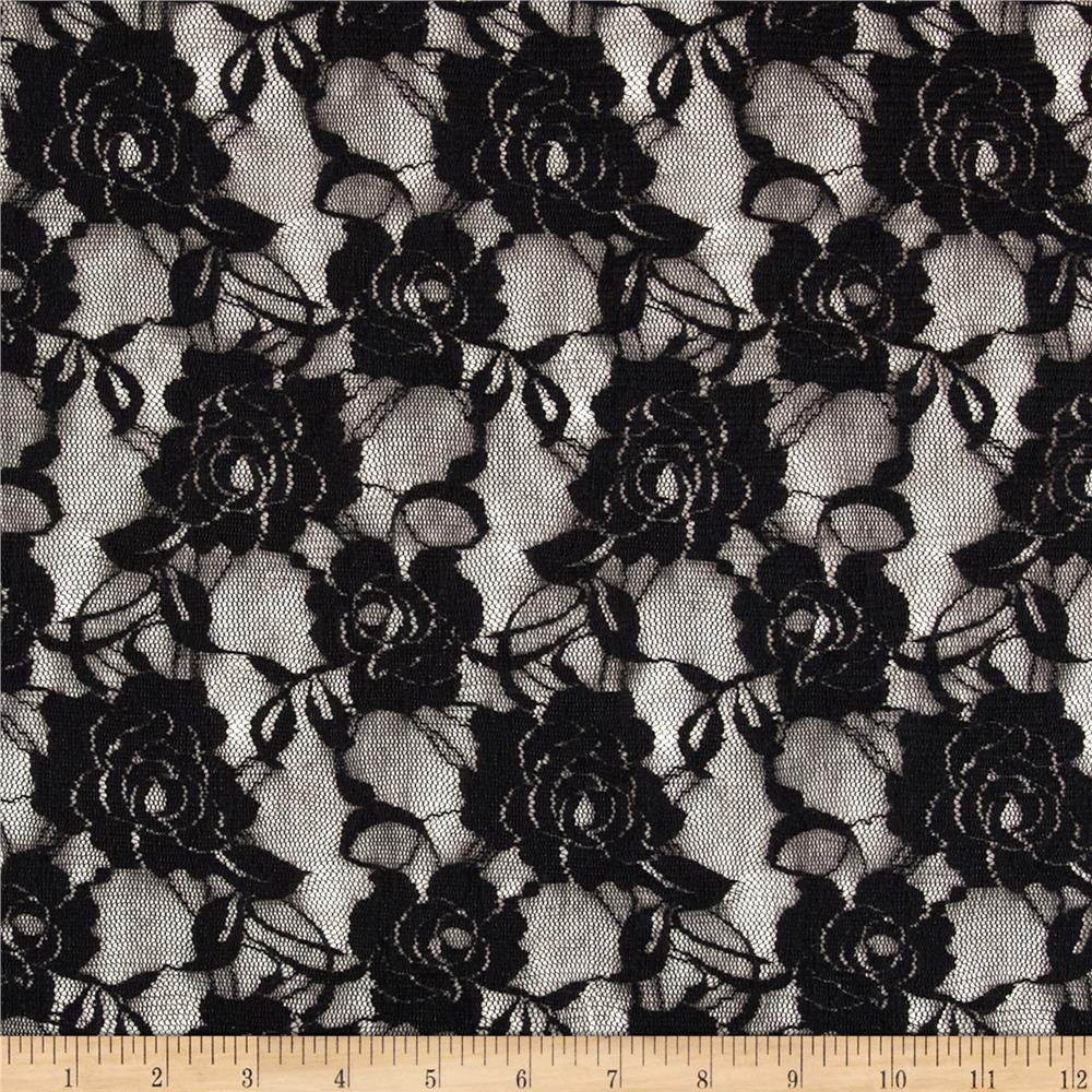 Stretch Floral Lace Ink Black