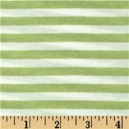 Designer Yarn Dyed Stripe Jersey Knit Light Green/White