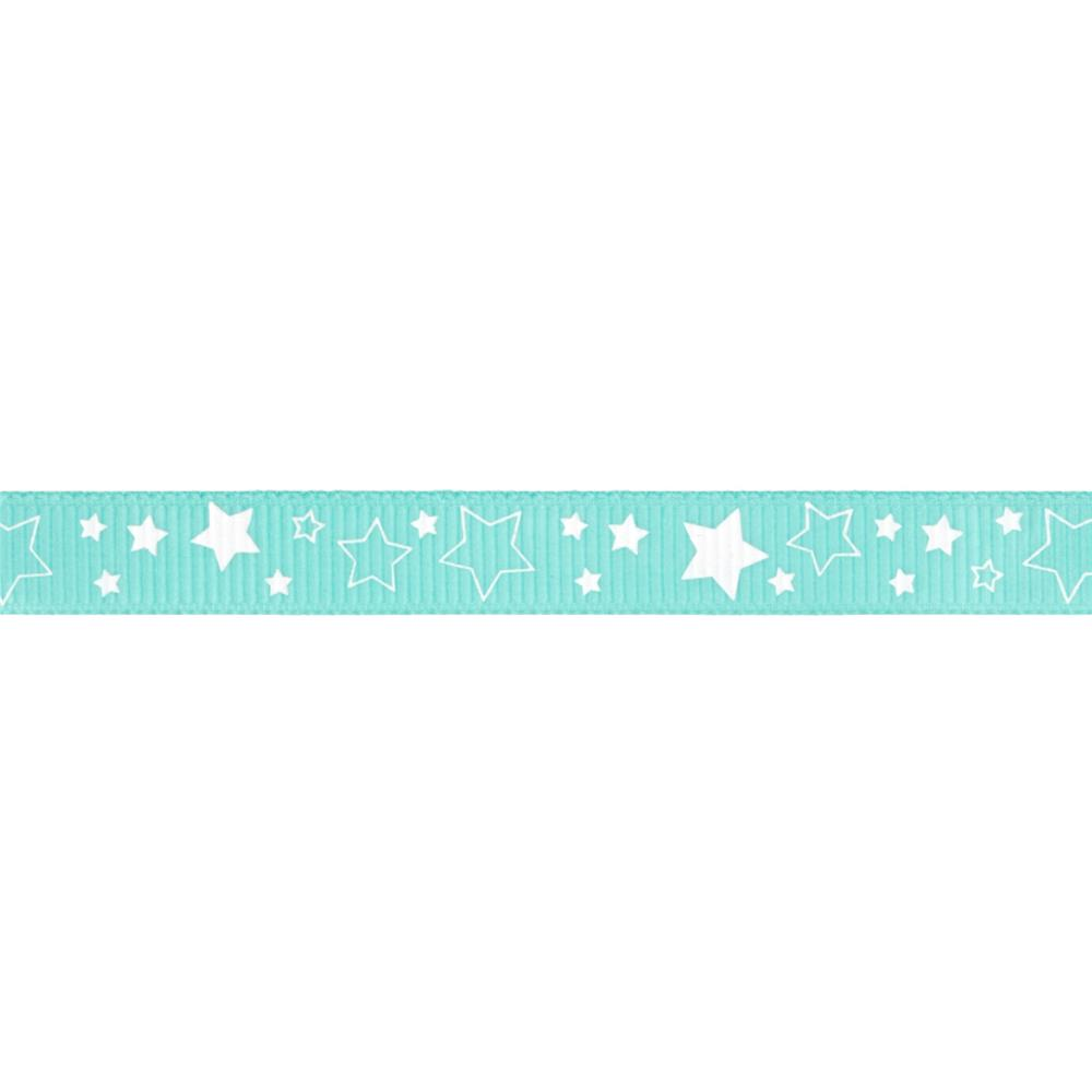 "Riley Blake 3/8"" Grosgrain Ribbon Stars Aqua"