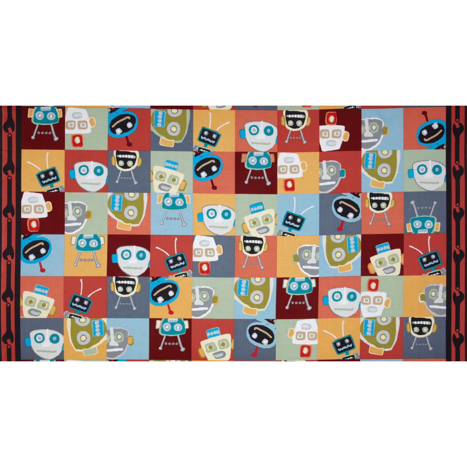 Mr. Roboto Large Robots Panel Multi Fabric
