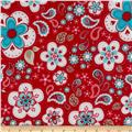 Riley Blake Twice as Nice Laminate Large Floral Red