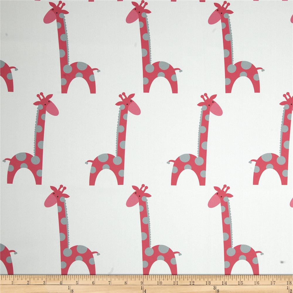RCA Giraffe Blackout Drapery Fabric Grey/Hot Pink