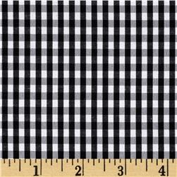 60'' Cotton Blond Woven 1/8'' Gingham Black Fabric
