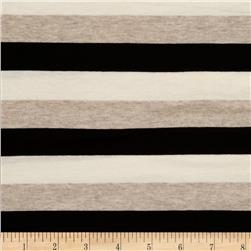 Designer Stretch Stripe Jersey Knit Tan/Black/Cream