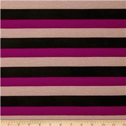 Stretch Jersey Knit Spendid Stripe Magenta/Taupe