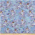 Timeless Treasures Metallic Fairies Blue
