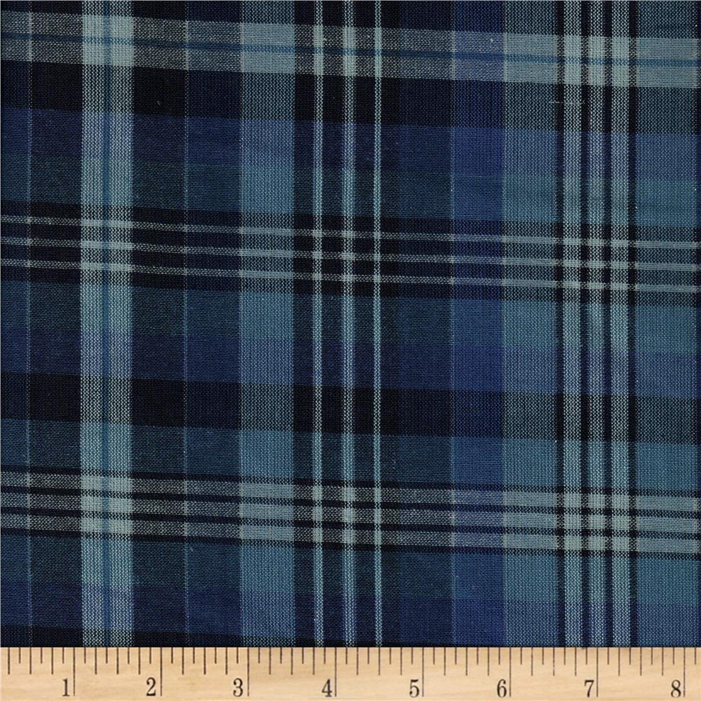 Yarn Dyed Chambray Large Plaid Blue/Silver