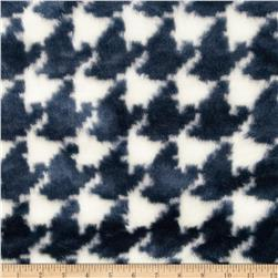 Faux Fur Houndstootth Blue/Cream
