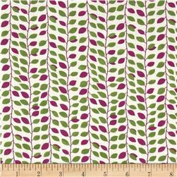 Cotton Lawn Vine Leaves Purple/Green