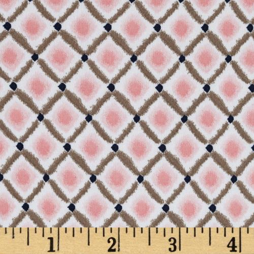 Maya Stretch ITY Jersey Knit Diamond Print Pink