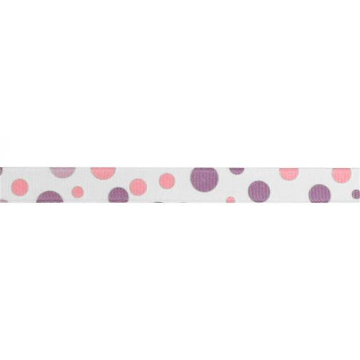 3/8''  Grosgrain Bubble Dot Ribbon Lavender/Pink