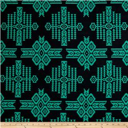Poly Spandex ITY Knit Tribal Green/Black